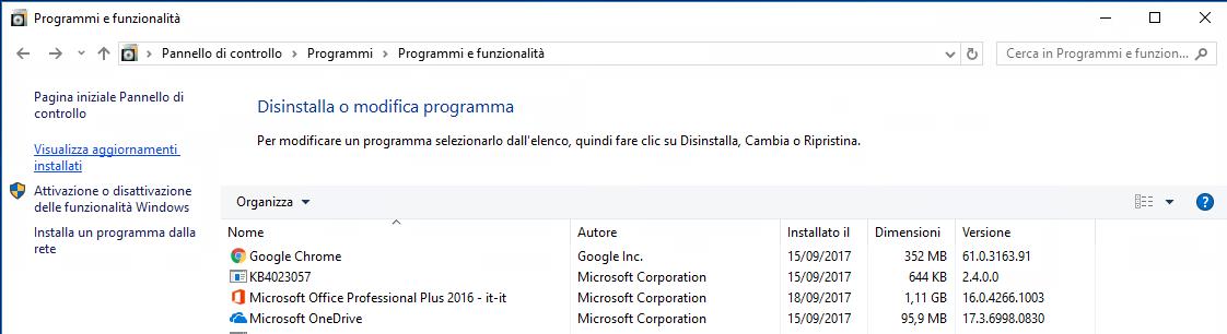 Office2007-Visualizza aggiornamenti installati