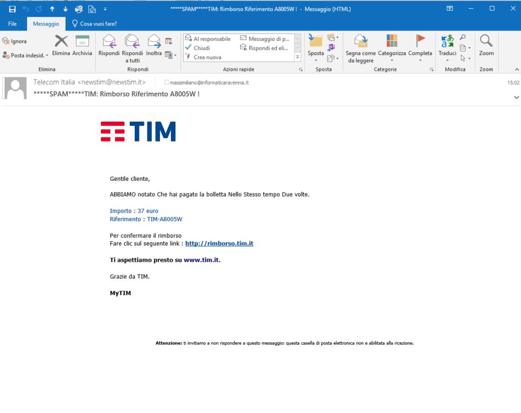 Truffa rimborsi TIM
