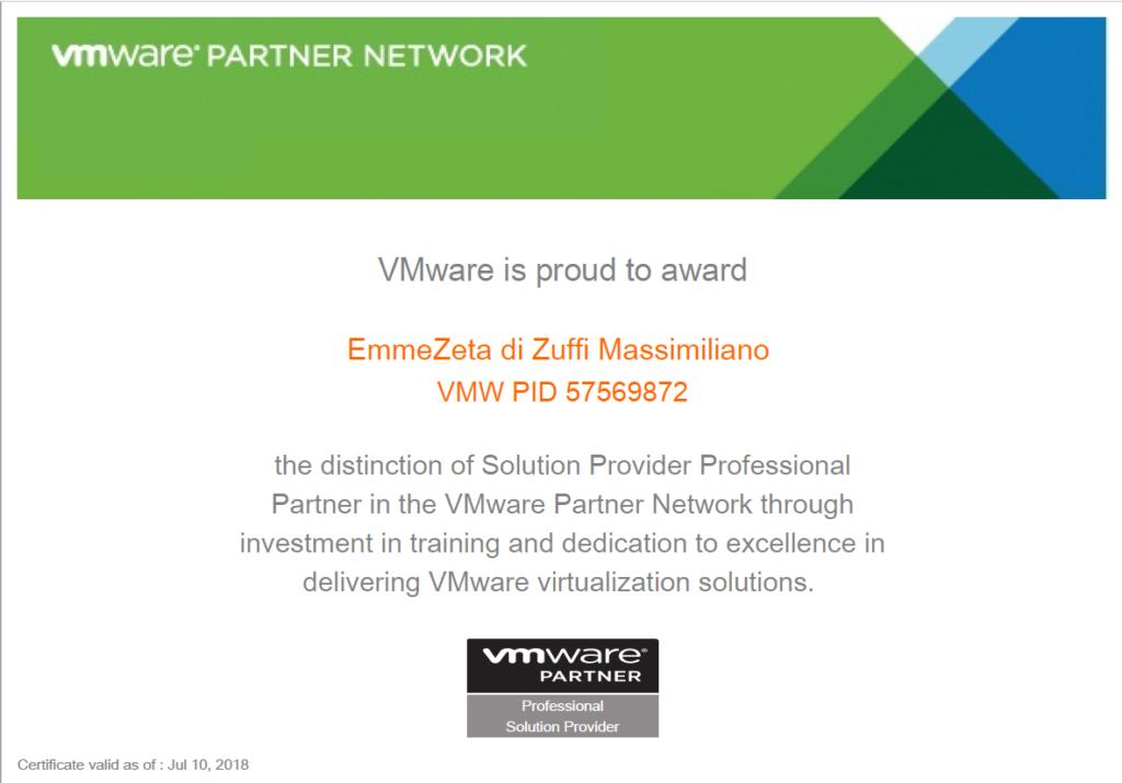 Certificazione VMware 2018