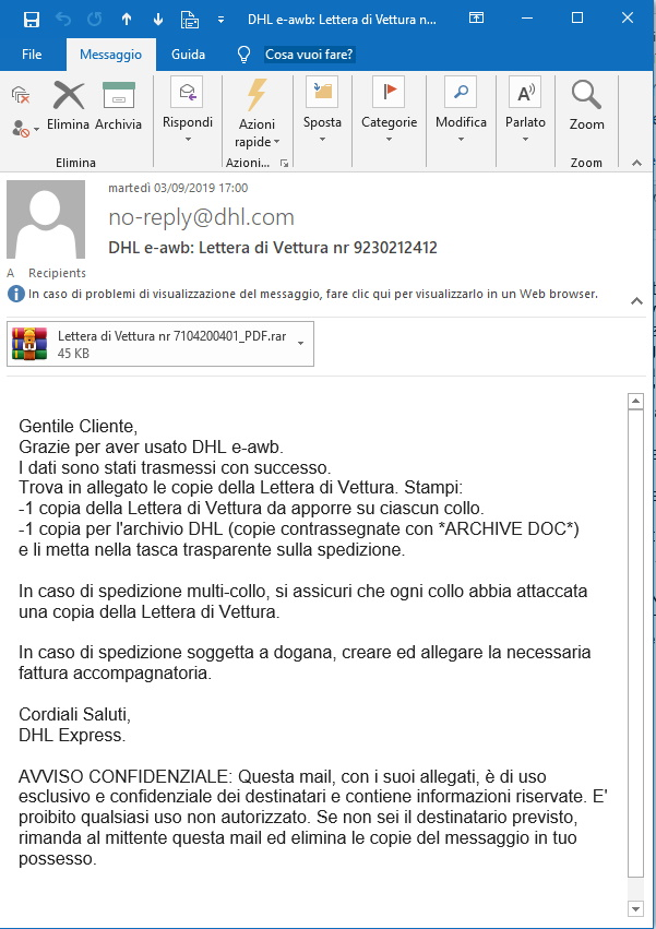 Falsa lettera di vettura DHL